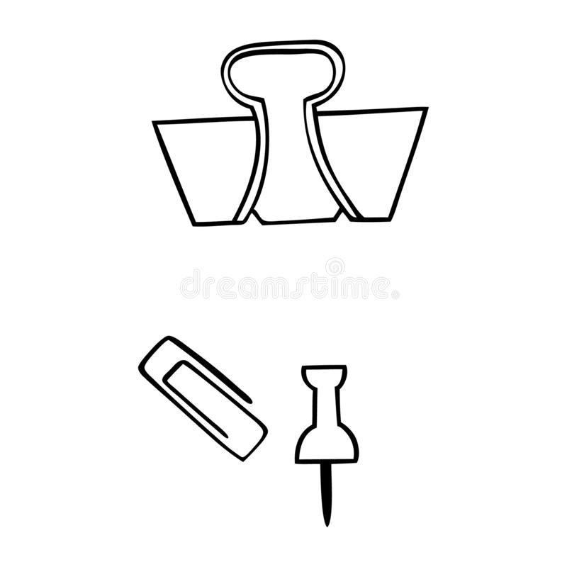 Black and white paper clip, hodler, and tack. Paper clip holder and tack vector illustration