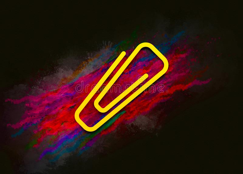 Paper clip icon colorful paint abstract background brush strokes illustration design. Creative bright red color texture fluid liquid waves royalty free illustration