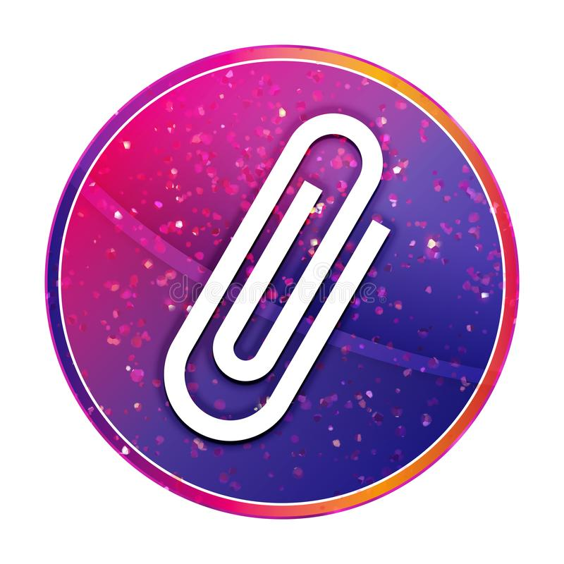 Paper clip icon creative trendy colorful round button illustration. Paper clip icon isolated on creative trendy colorful round button illustration stock illustration