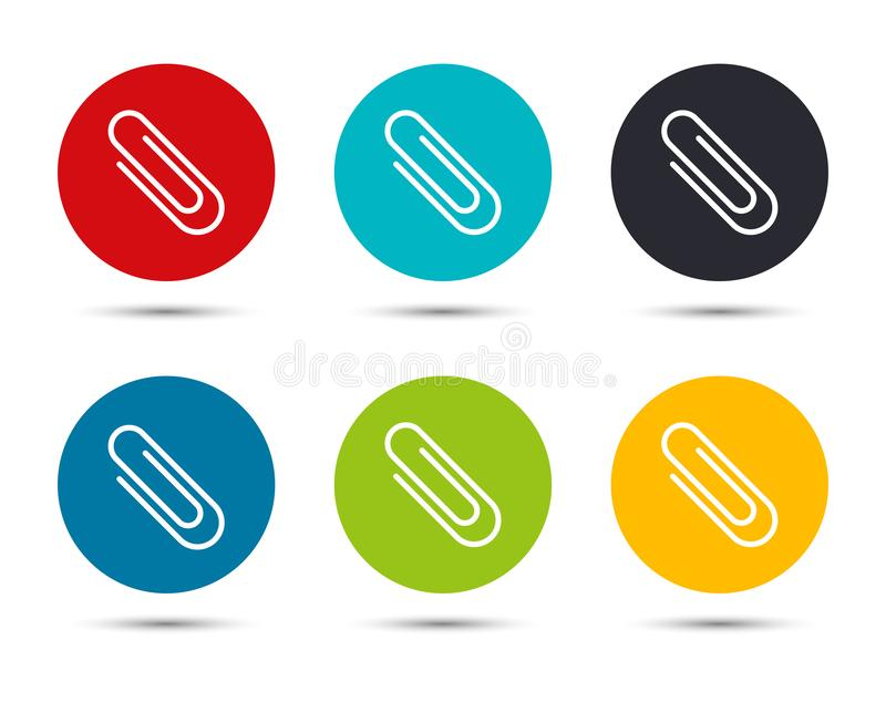 Paper clip icon flat round button set illustration design. Isolated on white background stock illustration