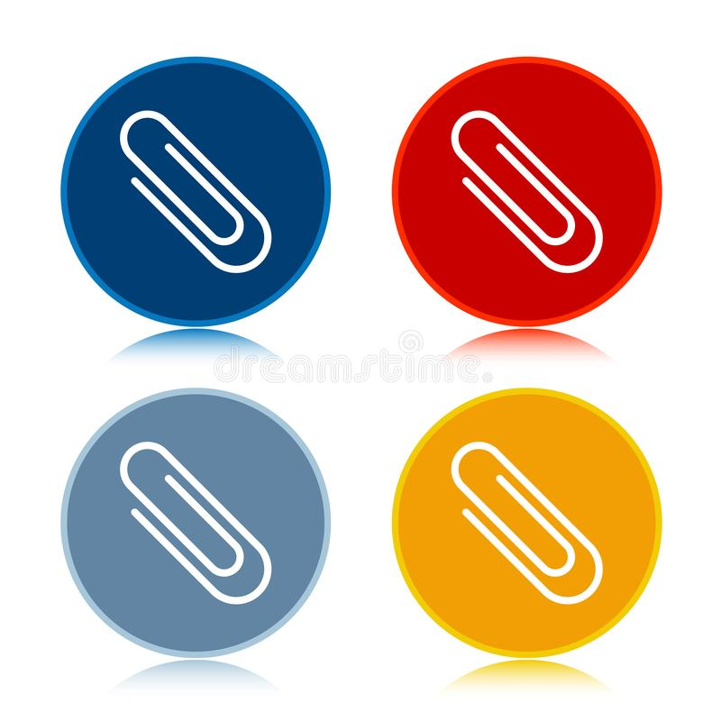 Paper clip icon trendy flat round buttons set illustration design. Paper clip icon isolated on trendy flat round buttons set reflected illustration design royalty free illustration