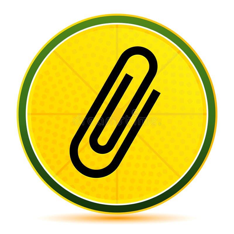 Paper clip icon lemon lime yellow round button illustration. Paper clip icon isolated on lemon lime yellow round button illustration vector illustration