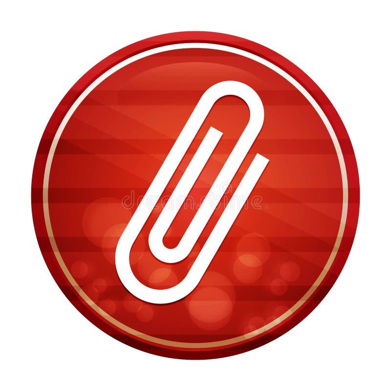 Paper clip icon realistic diagonal motion red round button illustration. Paper clip icon isolated on realistic diagonal motion red round button illustration vector illustration