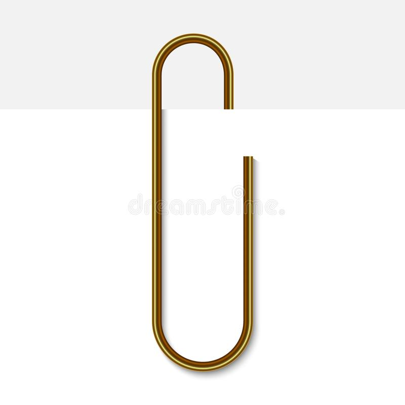 Paper clip on paper. Realistic golden paperclip vector illustration royalty free illustration