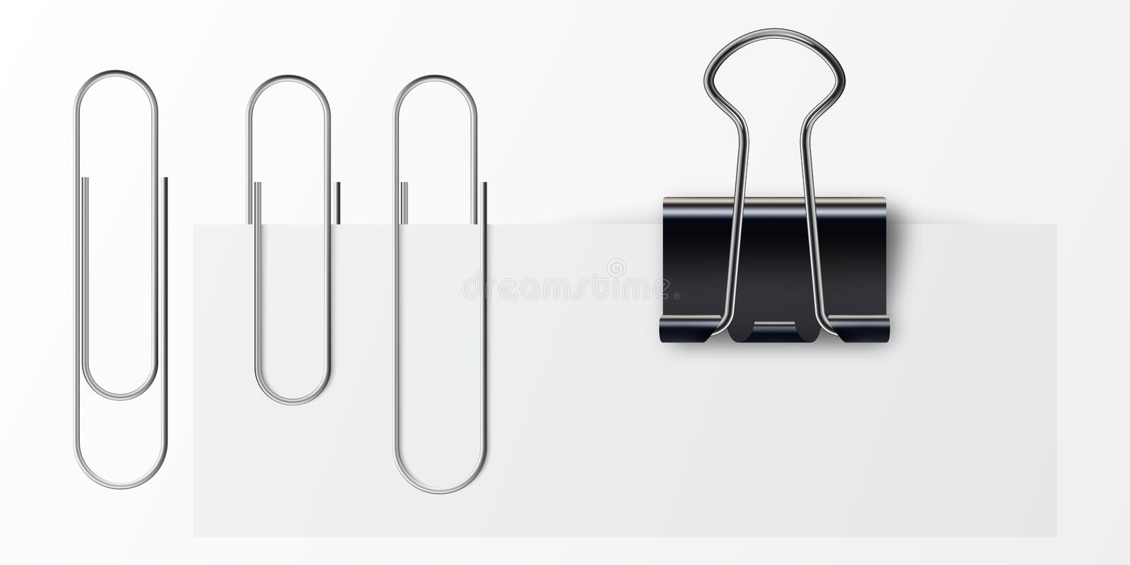 Paper clip on paper. Set of paper clip with black binder. Metal paper clip and paper isolated on white background. Realistic paper clips and black binder stock illustration