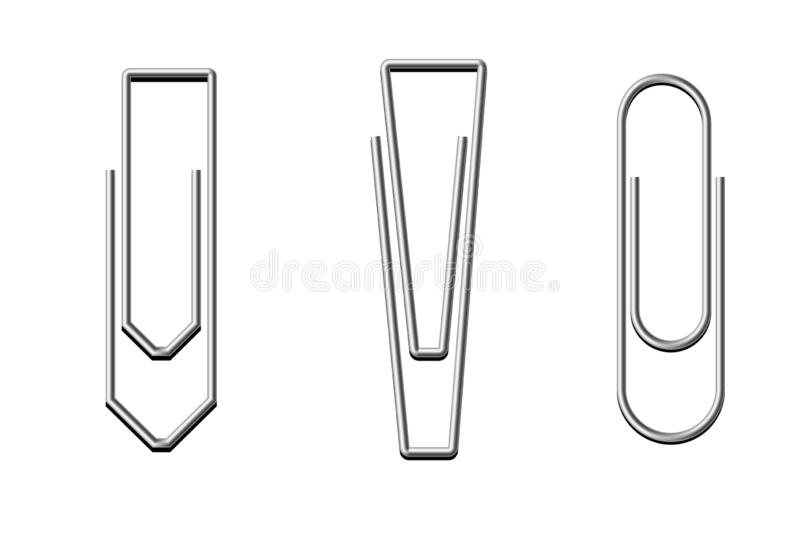 Paper clip set on white background. Paper clip set white background design data keep object sheet school education symbol metal silver creative collection new royalty free illustration