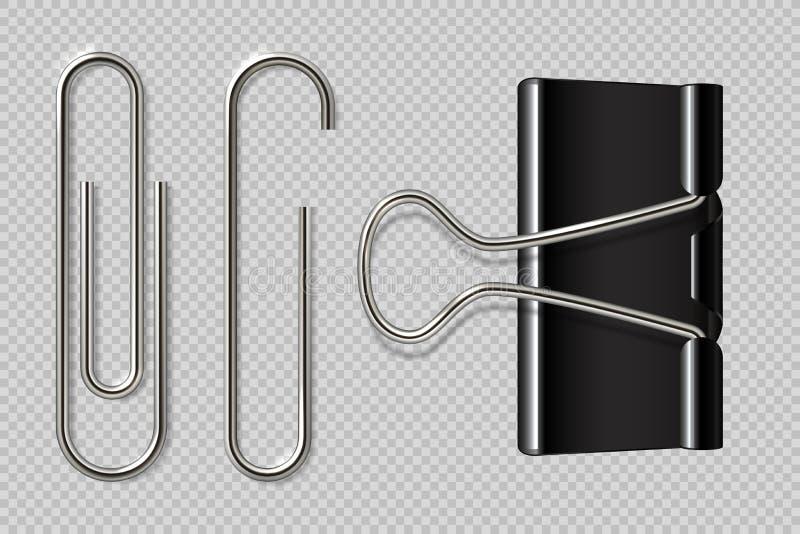Paper-clip verticale Raccoglitore realistico, fermacarte isolato su fondo bianco, macro fermi del taccuino del metallo Carta di v illustrazione vettoriale