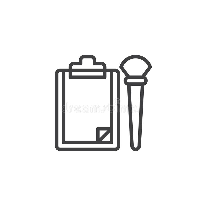Paper Clipboard and brush outline icon vector illustration