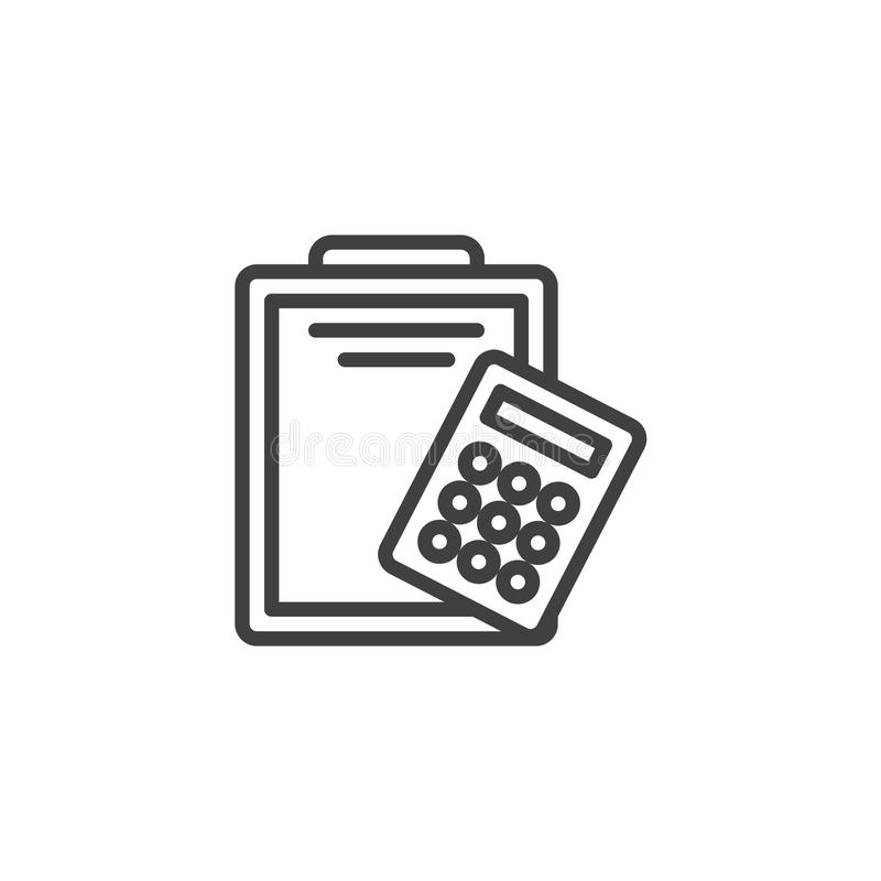 Paper clipboard and calculator line icon vector illustration