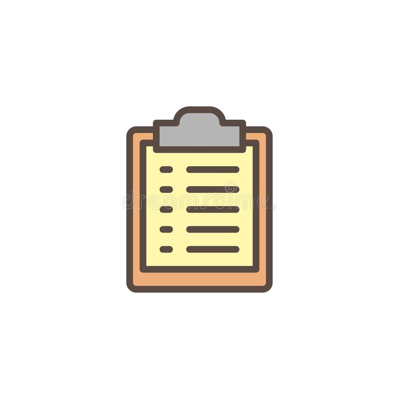 Paper clipboard list filled outline icon vector illustration