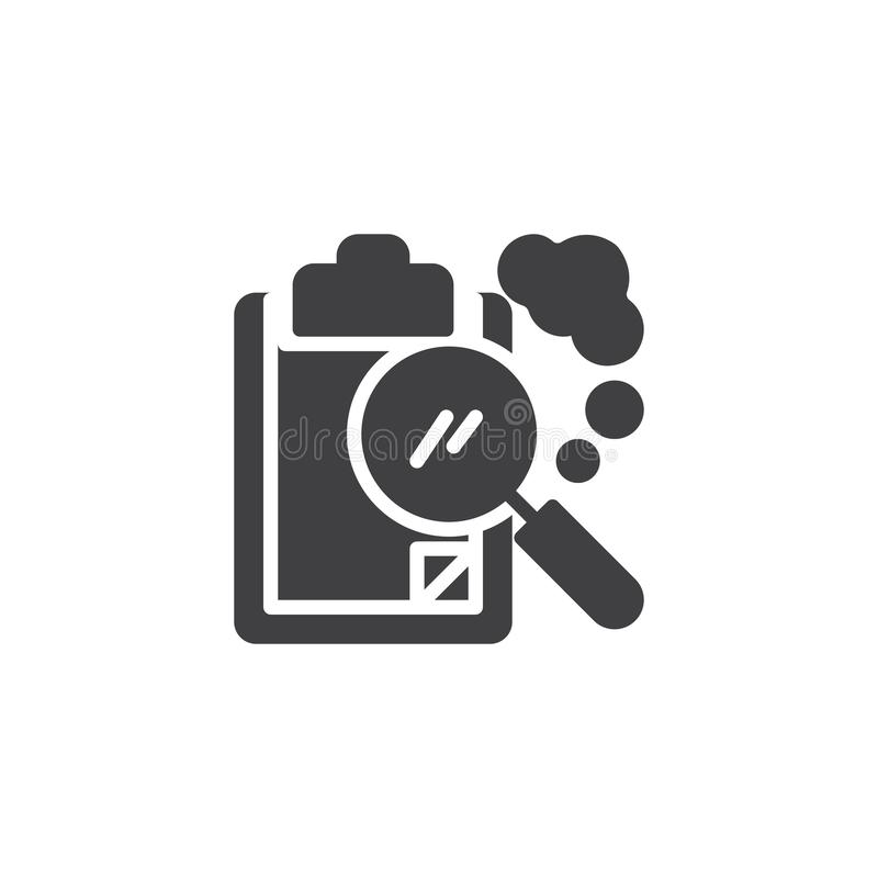Paper clipboard and magnifying glass vector icon royalty free illustration