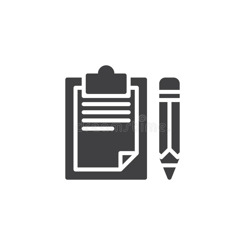 Paper clipboard and pencil vector icon royalty free illustration