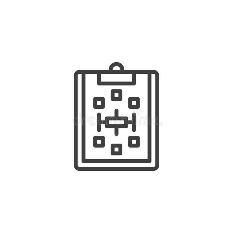 Paper clipboard with scheme outline icon royalty free illustration