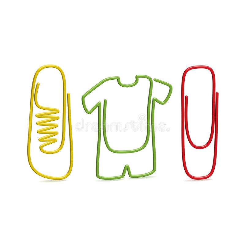 Paper clips. Nice isolated original paperclips with footwear and clothing form vector illustration