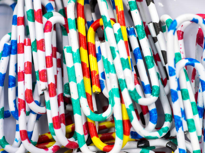 Paper clips. Abstract close up colorful paper clips background stock images