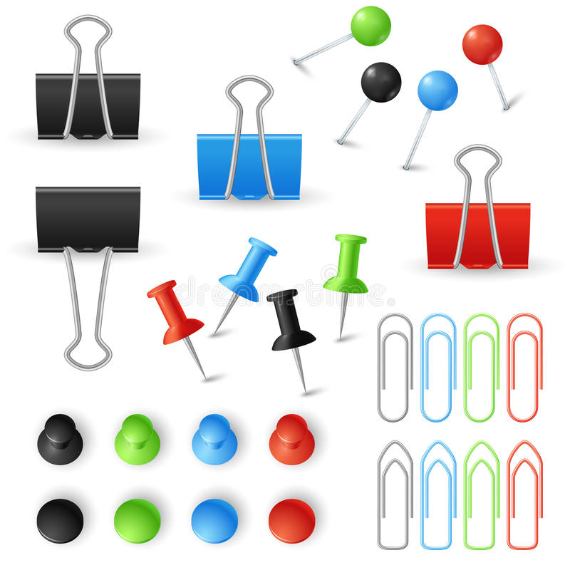 Paper clips, binders and pins vector set. Stationery tools for office work with documents illustration stock illustration