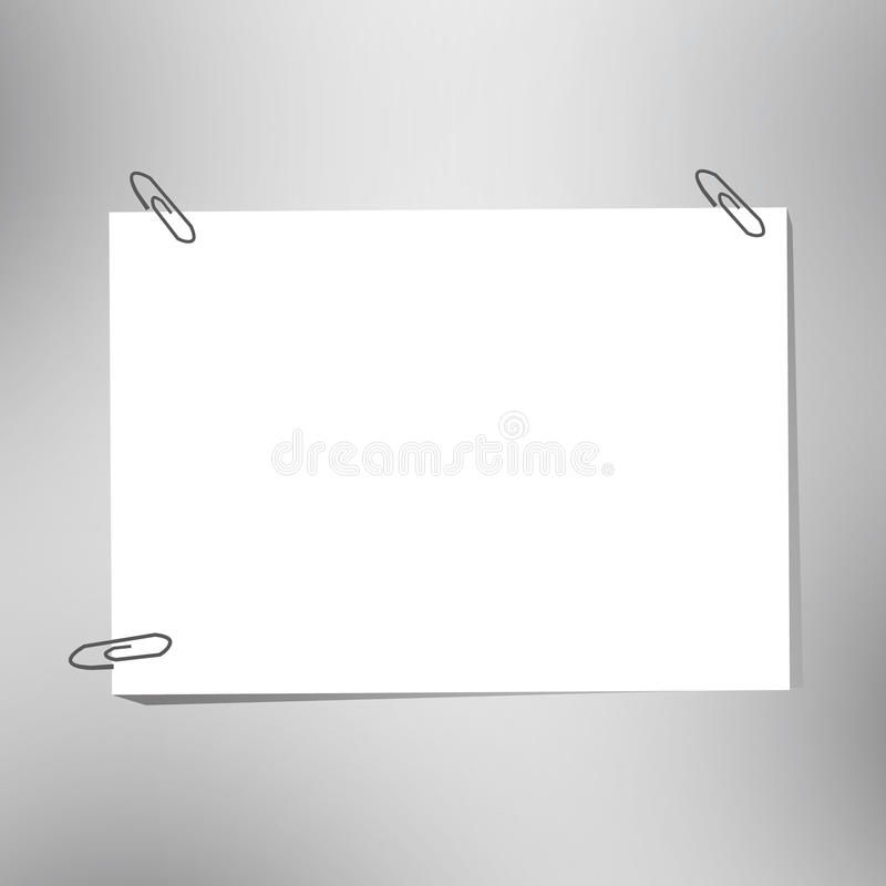 Paper and clips. Close up of a blank paper and clips vector illustration