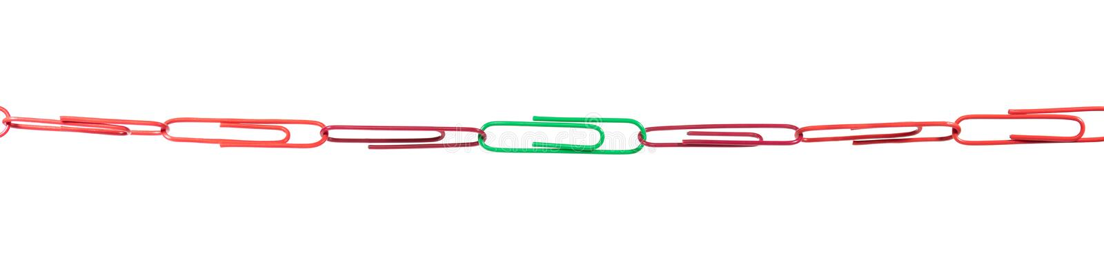 Paper Clips concept, strategy for the group are teamwork and cohesion. Panorama stock images