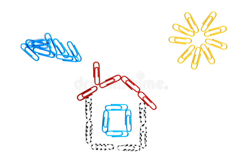 Paper clips house royalty free stock image