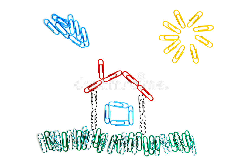 Paper clips house royalty free stock photo