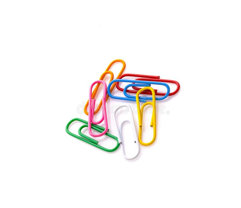 Paper clips isolated on white background.  royalty free stock photo