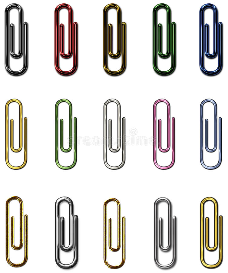 Paper clips metal set royalty free illustration
