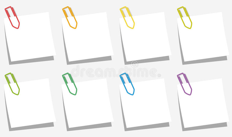 Paper Clips Notes Slips Colors. Paper clips pinned on square notepads - eight different colors. Isolated vector illustration on gray background stock illustration