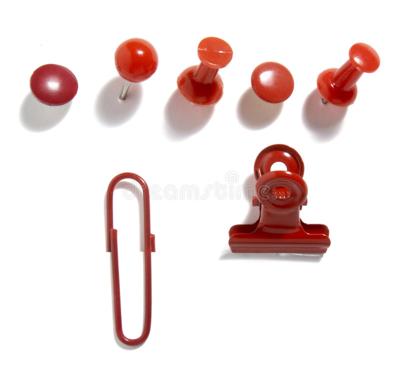 Paper clips red group 1 stock photo