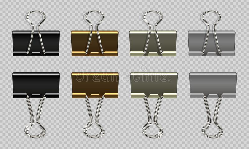 Paper clips set. Black white, gold, gray realistic binder, paper holder isolated on white background. Vector isolated. Graphic drawing steel stationery vector illustration