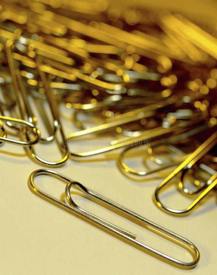Paper Clips. Used in the office to hold sheets of paper together, usually made of steel wire bent to a looped shape royalty free stock image