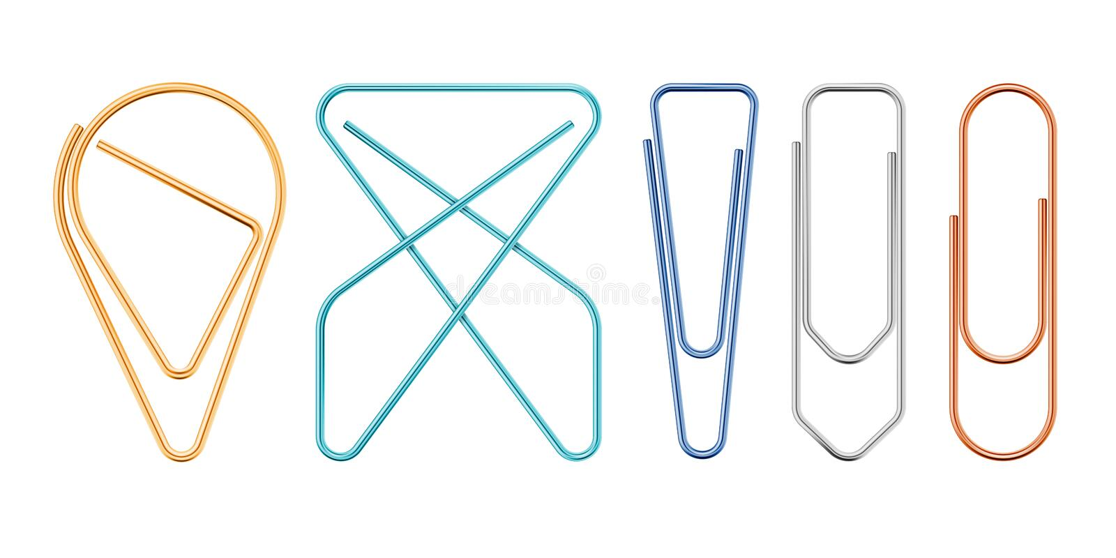 Paper Clips Of Various Sapes Vector Illustration. Paper Clips Of Various Sapes - Rounded, Squared, Triangle, Butterfly, Drop. Photo-realistic Vector 3d royalty free illustration