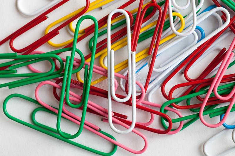 Paper clips. On a white background royalty free stock photos