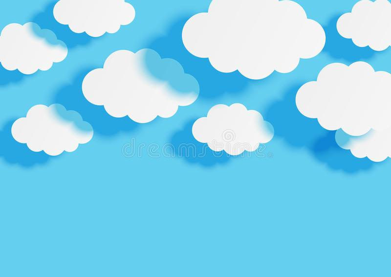Paper clouds on blue sky background for Your design. Paper clouds on blue sky background royalty free illustration