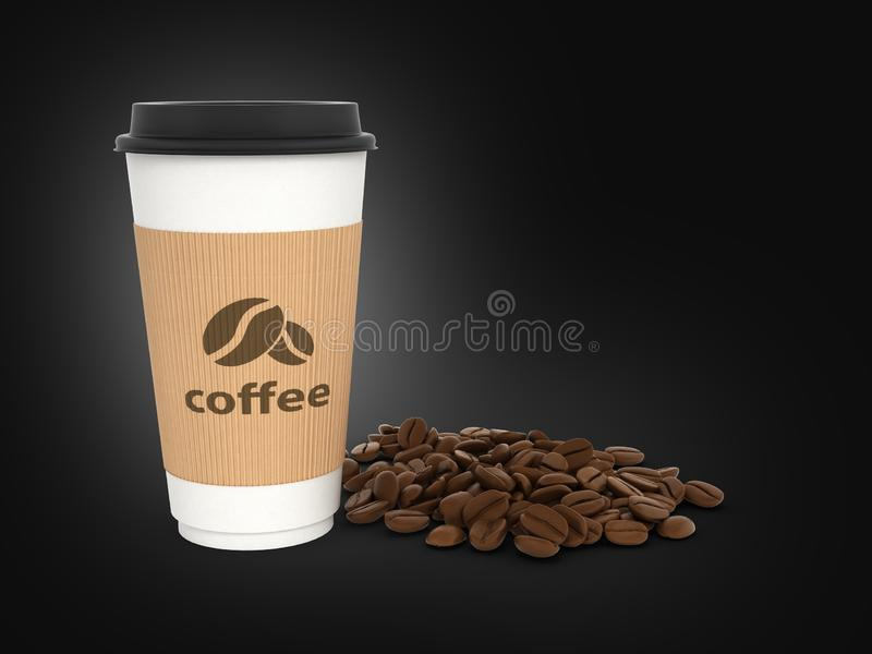 Paper coffee cup with coffee beans on black gradient background 3d royalty free illustration