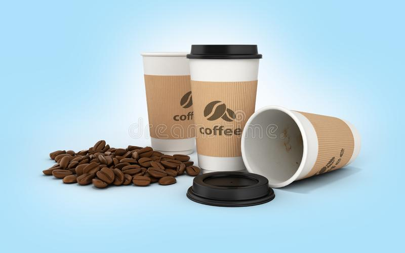 Paper coffee cup with coffee beans on blue gradient background 3d royalty free illustration