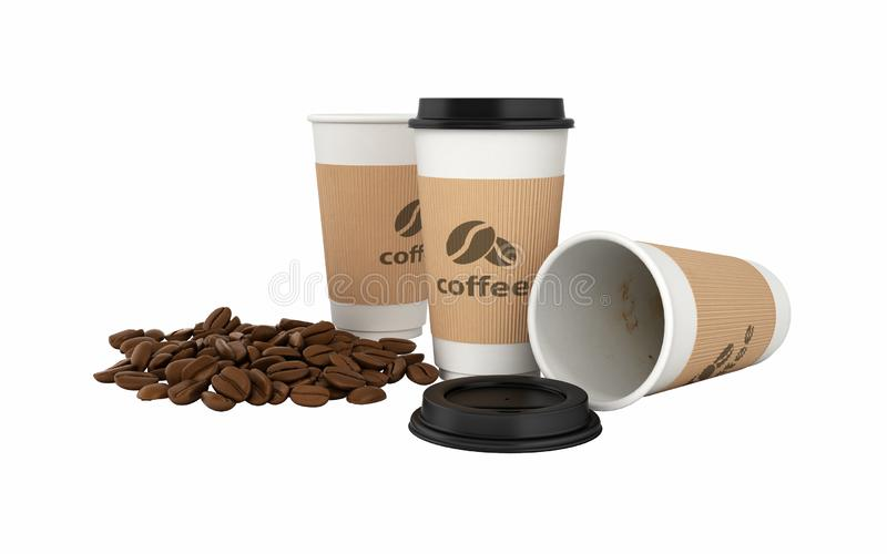 Paper coffee cup with coffee beans without shadow on white background 3d royalty free illustration