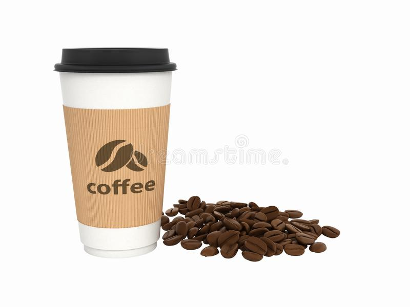 Paper coffee cup with coffee beans without shadow on white background 3d vector illustration