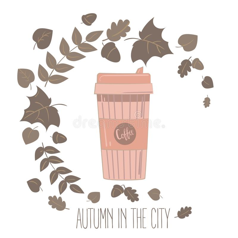 Paper coffee cup. Mug vector illustration. Paper recyclable coffee cup. Mug vector illustration. Coffee cup in autumn leaves. Autumn in the city text vector illustration