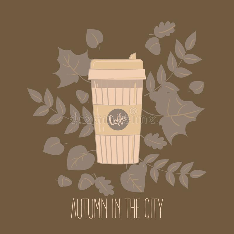 Paper coffee cup. Mug vector illustration. Paper recyclable coffee cup. Mug vector illustration. Coffee cup in autumn leaves. Autumn in the city text stock illustration