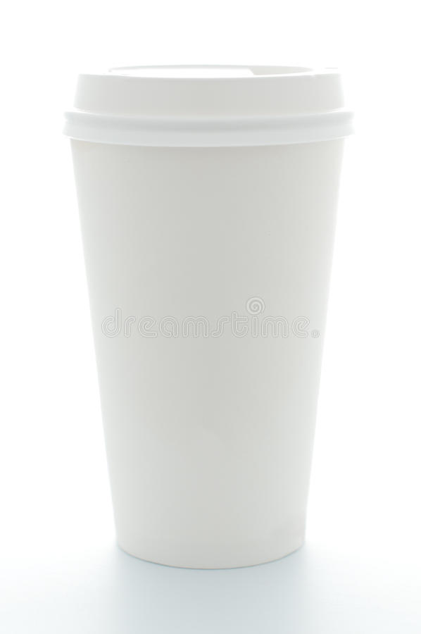 Paper coffee cup with plastic top stock photo