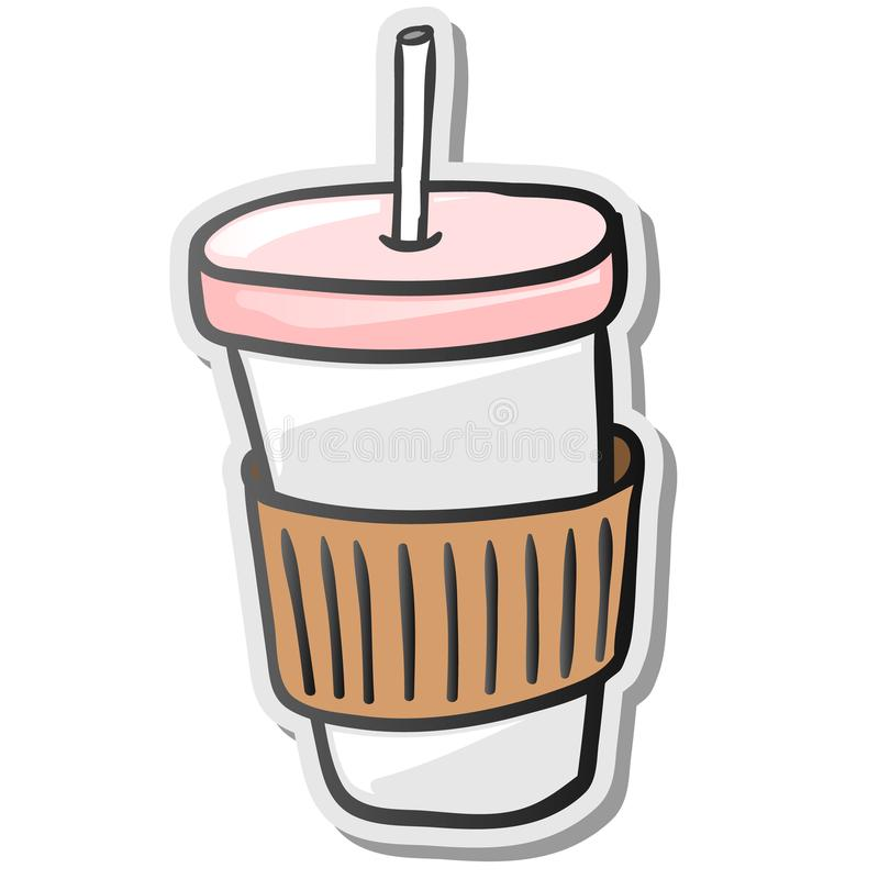 Download paper coffee cup sticker stock vector illustration of disposable 100248329