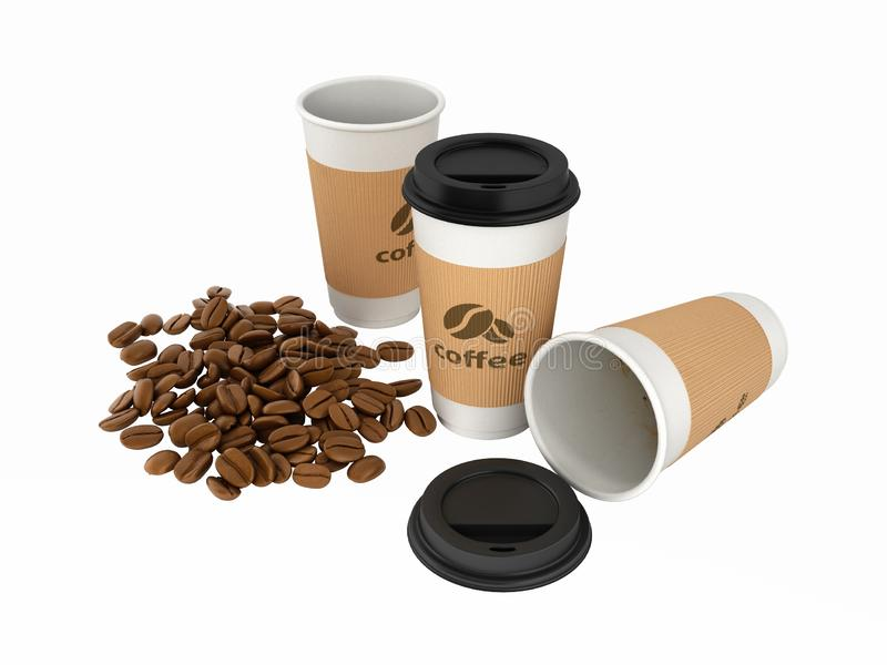 Paper coffee cups with coffee beans without shadows on white background 3d vector illustration