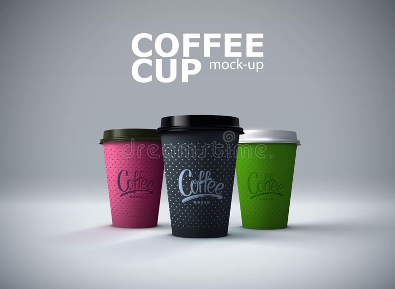 Paper coffee cups mockup. vector illustration