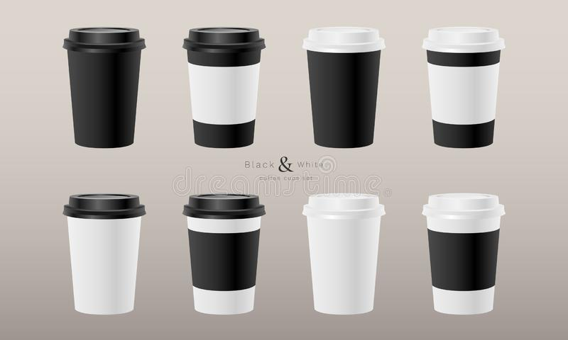 Paper coffee cups realistic set royalty free illustration