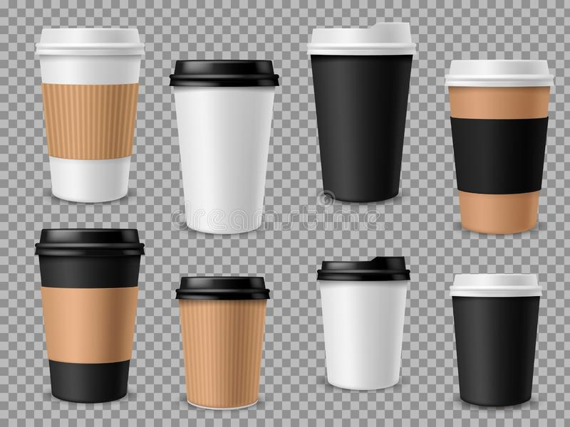 Paper coffee cups set. White paper cups, blank brown container with lid for latte mocha cappuccino drinks realistic. Vector 3d mockups for street cafe stock illustration