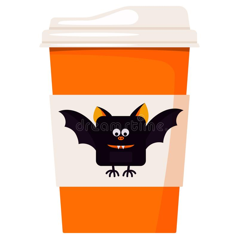 Paper coffee or tea cup decorated cartoon cute smiling and flying Happy Halloween black bat isolated on white background. Design element for card, banner, web royalty free illustration