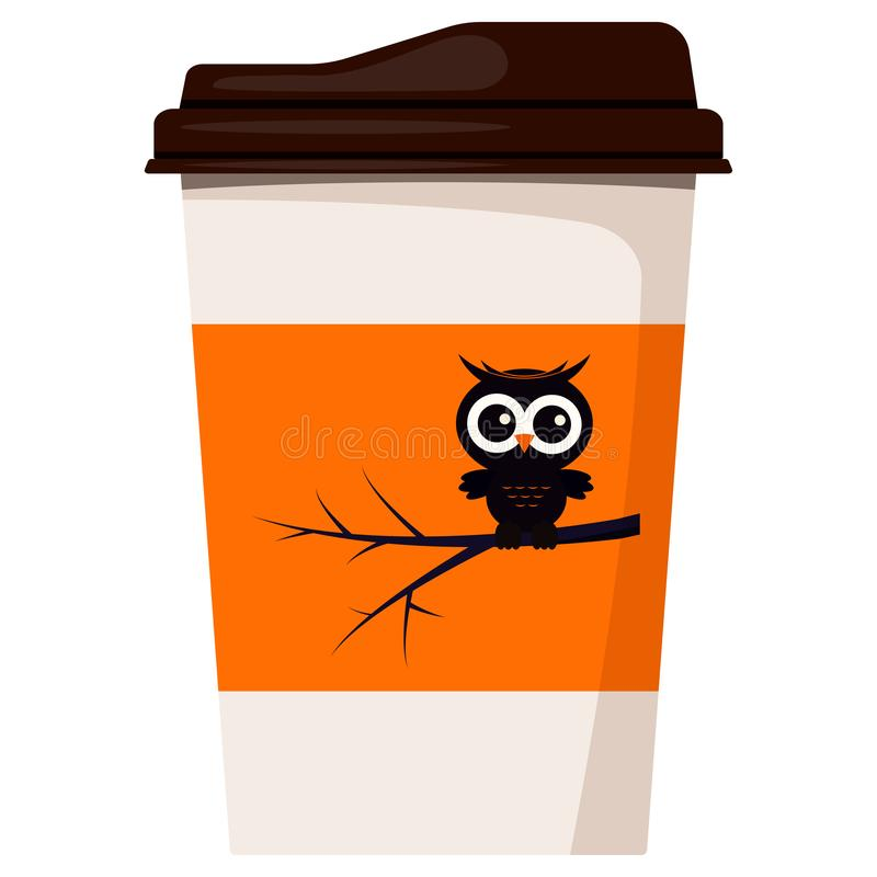 Paper coffee or tea cup decorated Happy Halloween black cute owl sitting on tree branch isolated on white background. royalty free illustration