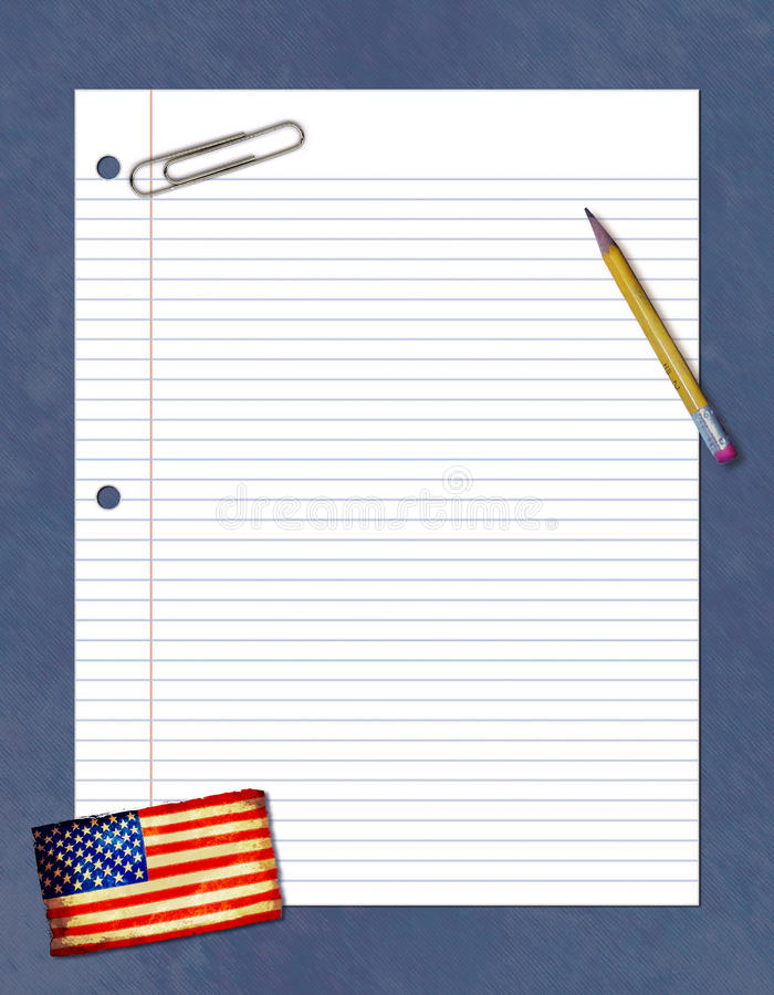 Paper Collage. A paper collage with a pencil, paper clip and a flag stock illustration