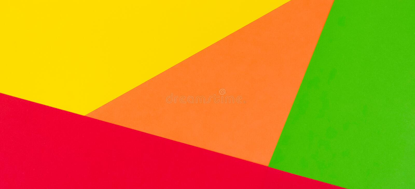 Yellow, red, green and orange color paper banner background royalty free stock images