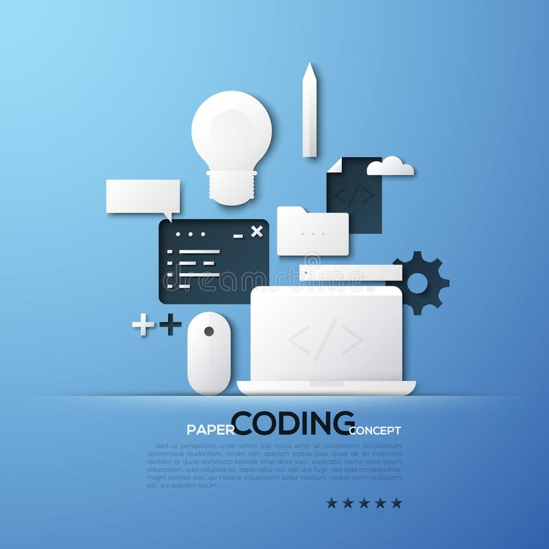 Paper concept of coding, front and back end software development, program code testing. White silhouettes of laptop royalty free illustration